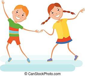 役割を果たす, 子供, イラスト, ダンス