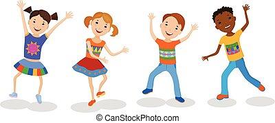 役割を果たす, 子供, セット, イラスト, ダンス