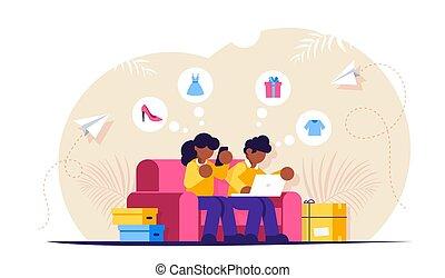 ∥(彼・それ)ら∥, hands., ラップトップ, オンラインで, store., boxes., 買い物, ソファー, 人, ベクトル, illustration., 隔離された, モデル, 電話, shopping., 女の子