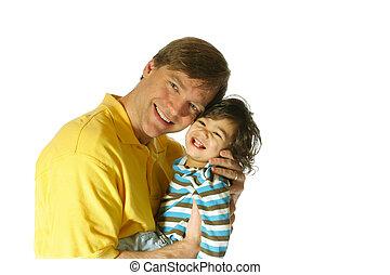 彼の, お父さんを抱いている息子
