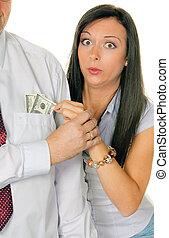 彼の, お金, ポケット, 女, 引き, から, 人