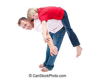 彼の, わずかしか, 楽しむ, かわいい, 乗車, 父, 男の子, piggyback