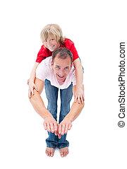 彼の, わずかしか, 楽しむ, 乗車, 微笑, 父, 男の子, piggyback