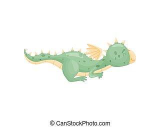 彼の, イラスト, ドラゴン, バックグラウンド。, ベクトル, 緑の白, stomach., 漫画, あること