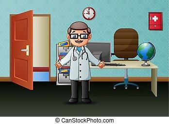 彼の, オフィス, 医者