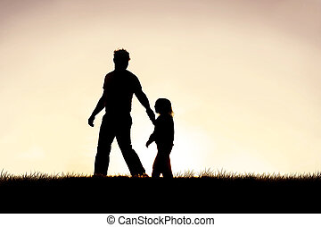 彼の, キリスト教徒, 父, 若い, 手, ガイドをする, 子供, シルエット