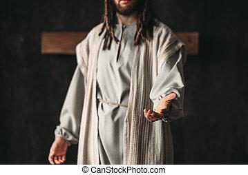 彼の, キリスト, 手を伸ばす, イメージ, 手, 人, から