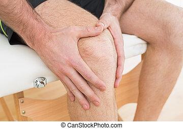 彼の, セクション, 中央の, 手, 膝, 苦痛, 人