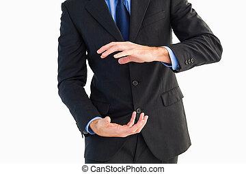 彼の, セクション, 手, 提出すること, 中央の, ビジネスマン