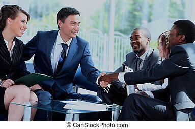 彼の, ビジネス, オフィス。, 手, 2, チーム, 動揺, 人