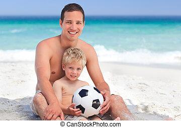 彼の, フットボール, 父, 息子, 遊び