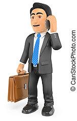 彼の, ブリーフケース, 話し, 移動式 電話, ビジネスマン, 3d