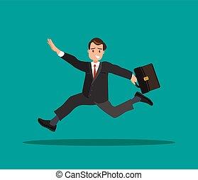 彼の, ブリーフケース, work., 手, 遅く, ビジネスマン