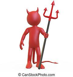彼の, ポーズを取る, 悪魔, trident
