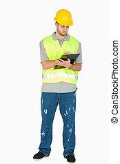 彼の, メモ, クリップボード, 建設, 取得, 労働者, 若い