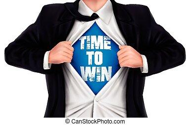 彼の, ワイシャツ, 勝利, 提示, 下に, 言葉, 時間, ビジネスマン