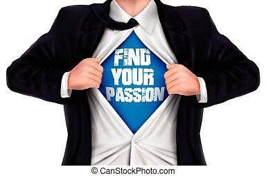 彼の, ワイシャツ, 提示, ファインド, 下に, 情熱, 言葉, ビジネスマン, あなたの