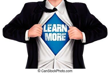 彼の, ワイシャツ, 提示, 下に, 言葉, 学びなさい, ビジネスマン, もっと