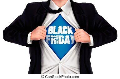 彼の, ワイシャツ, 提示, 金曜日, 下に, 黒, 言葉, ビジネスマン