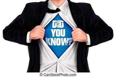 彼の, ワイシャツ, did, 提示, 下に, 知りなさい, 言葉, ビジネスマン, あなた