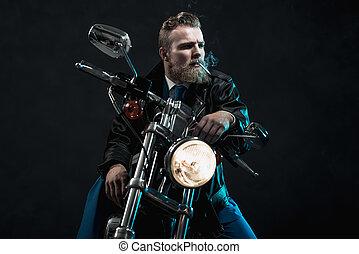 彼の, 乗馬, macho, モーターバイク, ビジネスマン