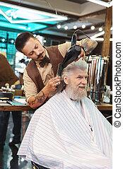 彼の, 乾燥, 毛, クライアント, 理髪師, 深刻