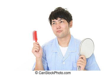 彼の, 人, 髪がブラシをかける