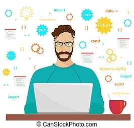 彼の, 仕事, プログラミング, concept., コーディング, laptop., コード, 情報通, 人, プログラマー, php, 職業