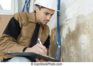 彼の, 仕事, メモ, 労働者, 若い, 間, クリップボード, 取得