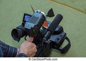 彼の, 仕事, 媒体, 装置, カメラ, ビデオ, ビデオ, オペレーター, カメラ