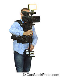 彼の, 仕事, 装置, カメラ, ビデオ, オペレーター, 専門家