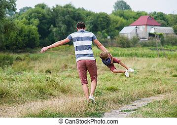 彼の, 公園, 父, 息子, くるくる回る, 遊び