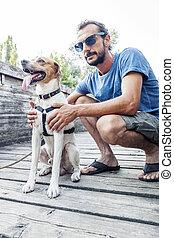 彼の, 公園, 犬, 人, 若い