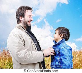 彼の, 冬, 屋外, -, 衣服, 父, 現場, 若い, 助力, 秋, 息子, 幸せ