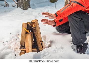 彼の, 冬, 火, 加熱, 森林, 手, たき火, 観光客