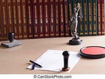 彼の, 切手, 署名される, notary, pen., 文書, 公衆