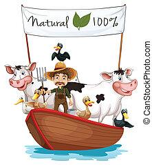 彼の, 動物, ボート, 農夫