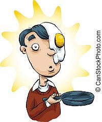 彼の, 卵, 顔
