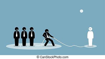 彼の, 参加しなさい, 会社, 接続, team., 引く, ビジネスマン, 才能