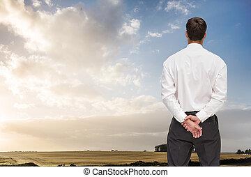 彼の, 回転, 合成の イメージ, 背中, カメラ, ビジネスマン