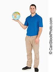 彼の, 地球, セールスマン, 保有物, 微笑, やし, 若い
