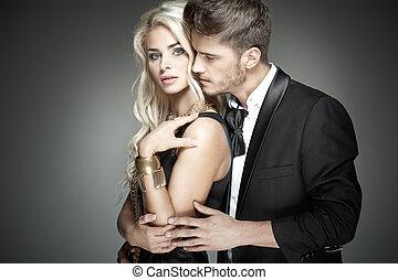 彼の, 妻, 抱き合う, ハンサム, sensual, 人