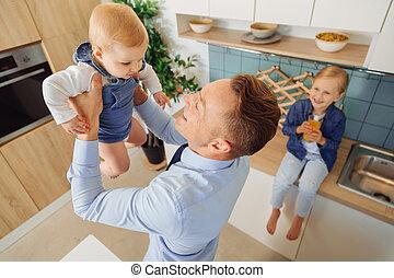 彼の, 娘, すてきである, 赤ん坊, 幸せ, 遊び, 人