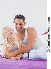 彼の, 娘, 微笑, 父, ベッド, モデル