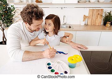 彼の, 娘, 父, 一緒に, 絵, 幸せ