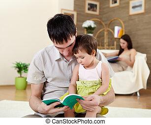 彼の, 娘, 父, 若い, 本, 読書