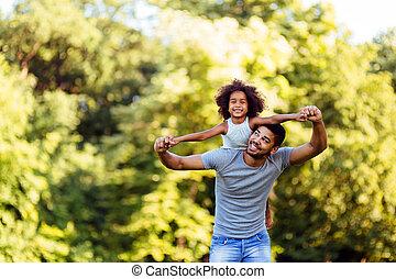 彼の, 娘, 父, 若い, 背中, 届く, 肖像画