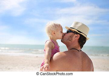 彼の, 娘, 父, 赤ん坊, 接吻, 浜