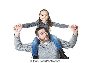 彼の, 娘, 肩, 父, 届く, スタジオの 打撃