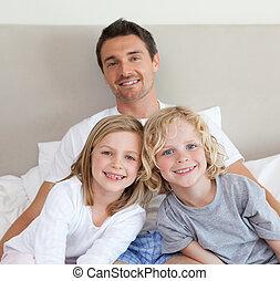 彼の, 子供, 父, ベッド, モデル
